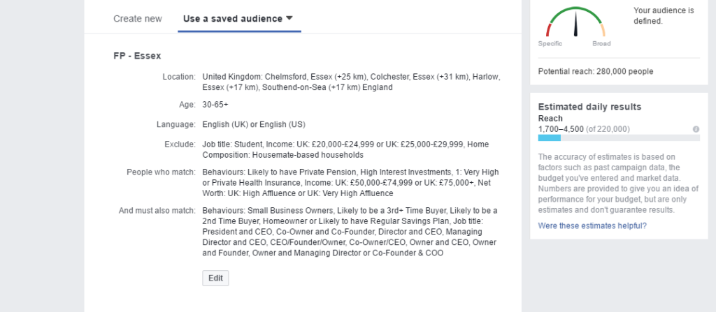 accountant marketing - image of the facebook ad manager interface