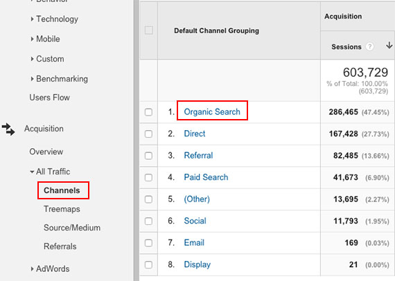 seo for accountants, organic traffic view