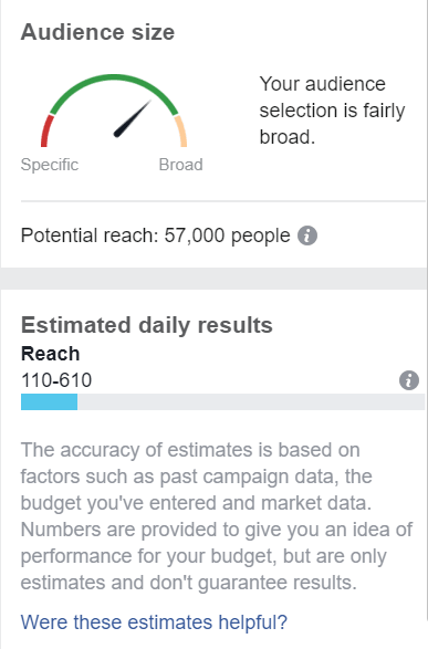 Facebook reach stats in accountant marketing