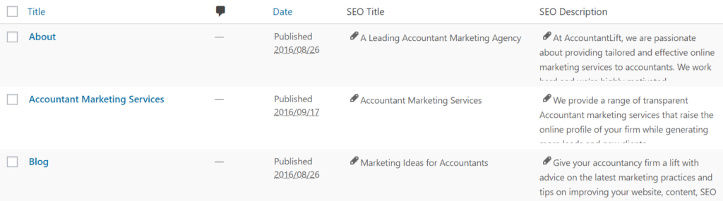 Example of meta data on websites for accounting
