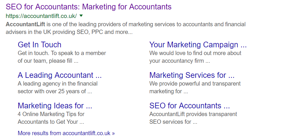 Example search result when a user searches in Google for AccountantLift
